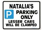 NATALIA'S Personalised Parking Sign Gift | Unique Car Present for Her |  Size Large - Metal faced